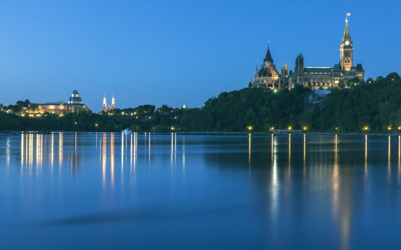 Parliament Hill in Ottawa at night