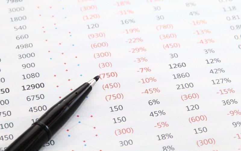 pen on spreadsheet
